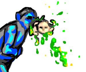 Blue Man vomits a baby