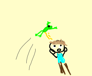 a frog peeing on a guy who's scared
