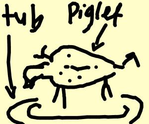 Confused piglet bathing in chocolate