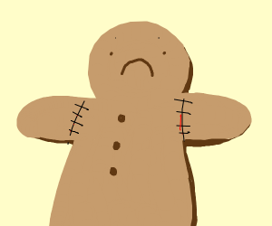 Gingerbread man with stitches