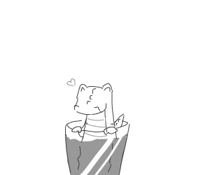 Cup of tea with a tiny gator in it.