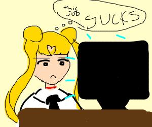 Sailor Moon gets a real job.