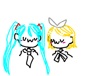 Hatsune Miku and Kagamine Rin 'uwu' together