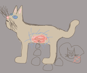 Worm thinkin about cat that doesnt like worms