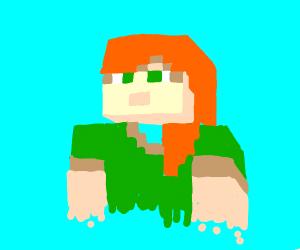 Minecraft Steve, but g i r l.