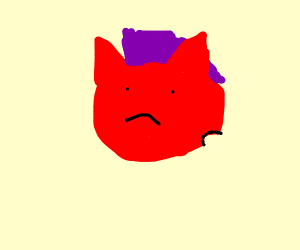 red devil with purple hair has a tumor cutout