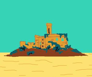 abandoned castle on island