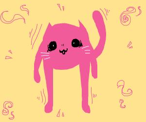 Cute pink demonic cat