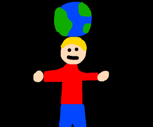Man with the world on his head
