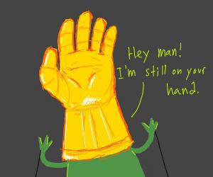 Kermit has infinity gauntlet on wrong hand