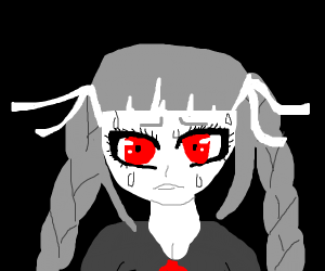 Colorless anime girl in distress