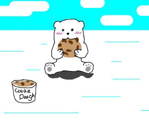 A polar bear eating cookie dough