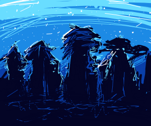 forest under a blue night sky