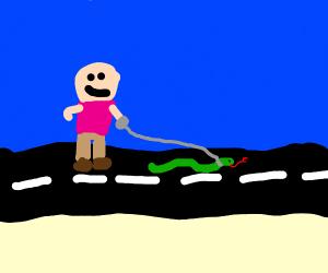 walking a pet snake