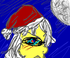 Santa's face in the dark with a blue eye