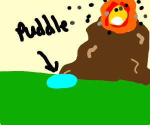 volcano erupts near puddle