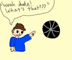 "guy pointing at wheel ""woah dude whats that"""