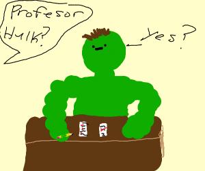 Professor Hulk grading papers