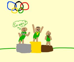 olympics where everyone wears green