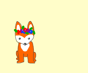 Fox with a flower crown
