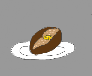 a baked potato with a pad of butter