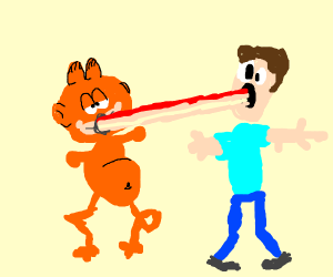 Garfield expands his lasagna into johns mouth