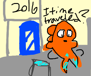 Shocked goldfish is stuck in the year 2016