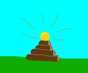 A yellow orb atop a pyramid of sticks