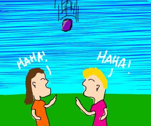 People laugh @ purple object falling from sky