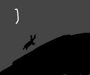 Silhouetted rabbit climbs up hill
