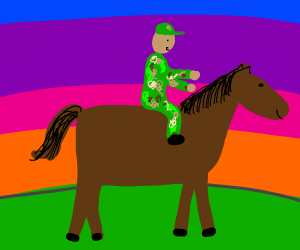 Solider rides a horse