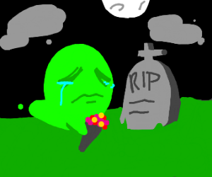 green ghost at a grave