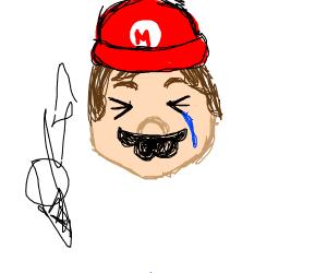 Crying baby Mario dropped his ice cream