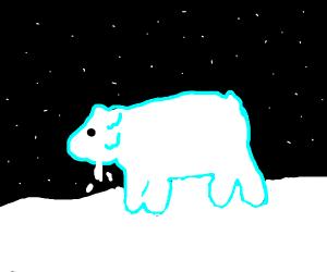 Half of a Polar Bear's face is melting off