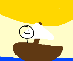 guy in a boat on the ocean under the sun