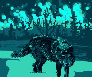 Wolf prowling at night