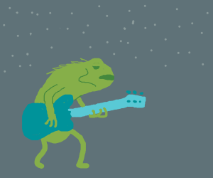 Sad lizard playing the guitar under the stars