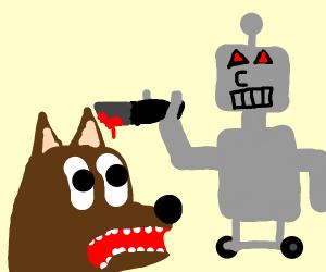 dog looking disturbed at a dog kill machine