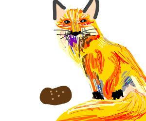 Yellow furry fox with a potato