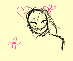 Anime girl w/ hearts and flowers