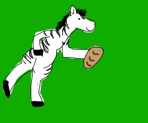 Zebra jogging with Bread