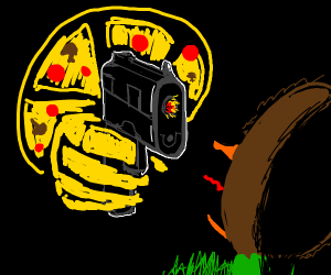Duck about to get shot by pizza