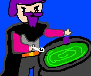 Wizard eating exotic food