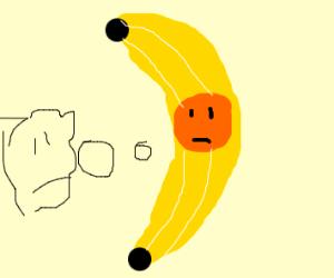 Orange banana in a suit