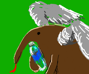 anteater with wings holding a bottle of water