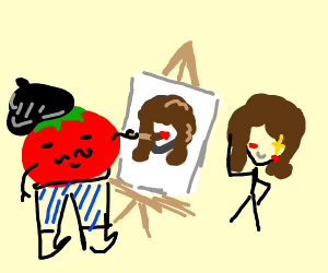Tomato drawing a person