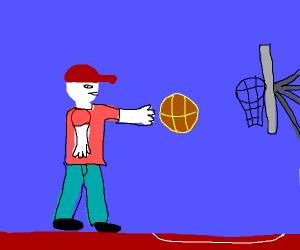 Guy playing basketball