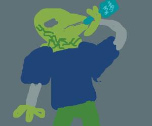 Lizard-Human hibrid drinks beer