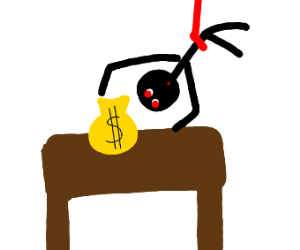 stick man stealing money bag