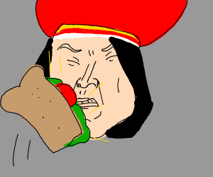 Lord Farquaad taking a sandwich to the face